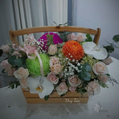 Giỏ hoa cúc mẫu đơn