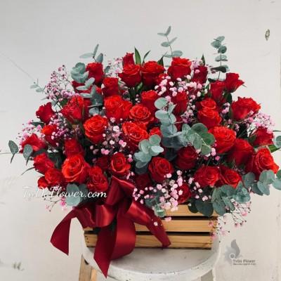 GIỎ HOA CHÚC MỪNG G1000 - Giỏ Hoa Hồng Đỏ