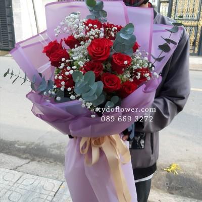 BÓ HOA CHÚC MỪNG BO2009 - Bó Hoa Hồng Đỏ