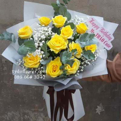 BÓ HOA CHÚC MỪNG BO2011 - Bó Hoa Hồng Vàng